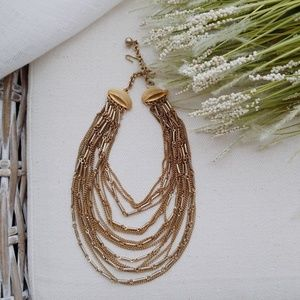 Jewelry - Vintage multi stranded gold choker necklace
